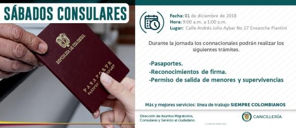 Consulado de Colombia en Santo Domingo realizará el Sábado Consular el 1 de diciembre de 2018